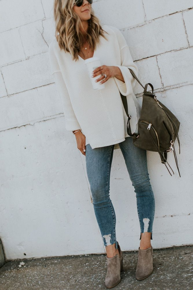 Cuffed Sleeve Sweater Pullover // Good American Jeans TTS  //Lace Cami $22 | Rebecca Minkoff Suede Backpack // Vince Camuto Francia Bootie in Foxy Hello ladies!…