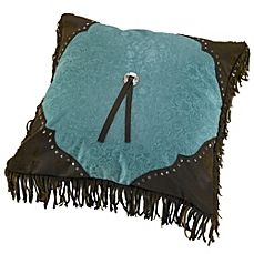 image of HiEnd Accents Cheyenne Scalloped Throw Pillow in Turquoise