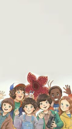Stranger Things Eleven, mike, dustin, lucas, max,  will and demogorgon