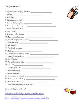 Candy Bar Trivia Worksheet Teacher Ideas Candy Games