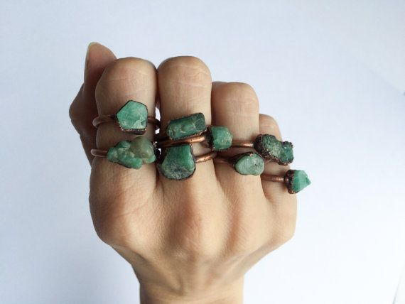 Rough emerald ring | Raw Emerald birthstone ring | Raw stone jewelry | Raw emerald jewelry | Raw emerald ring | May birthstone jewelry