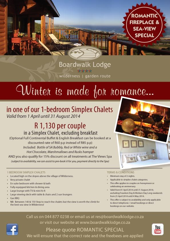 Winter Romance SPECIAL DISCOUNT on accommodation @ Boardwalk Lodge, Wilderness