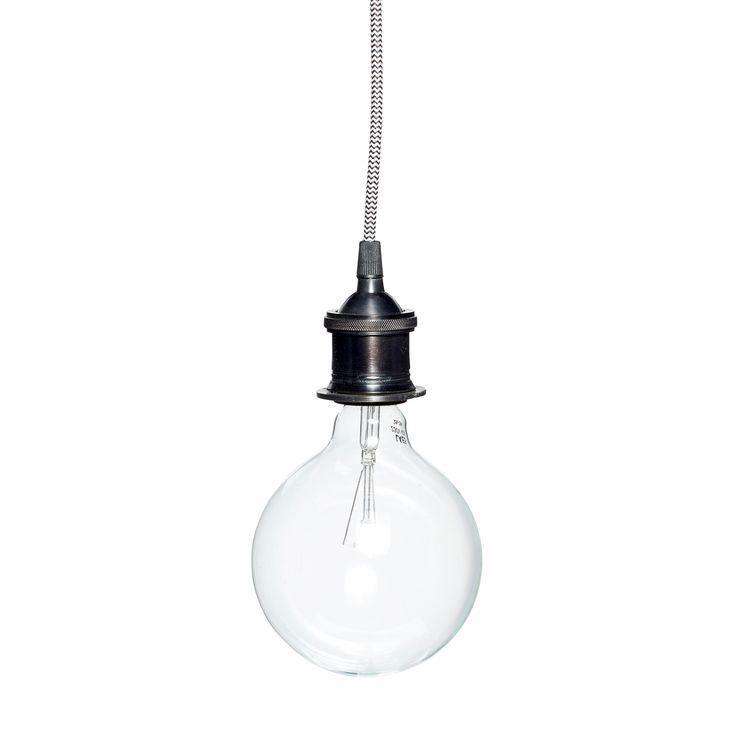 Lampe i sort metal med ledning fra Hubsch - stort udvalg i loftslamper - Brøndum Interiør