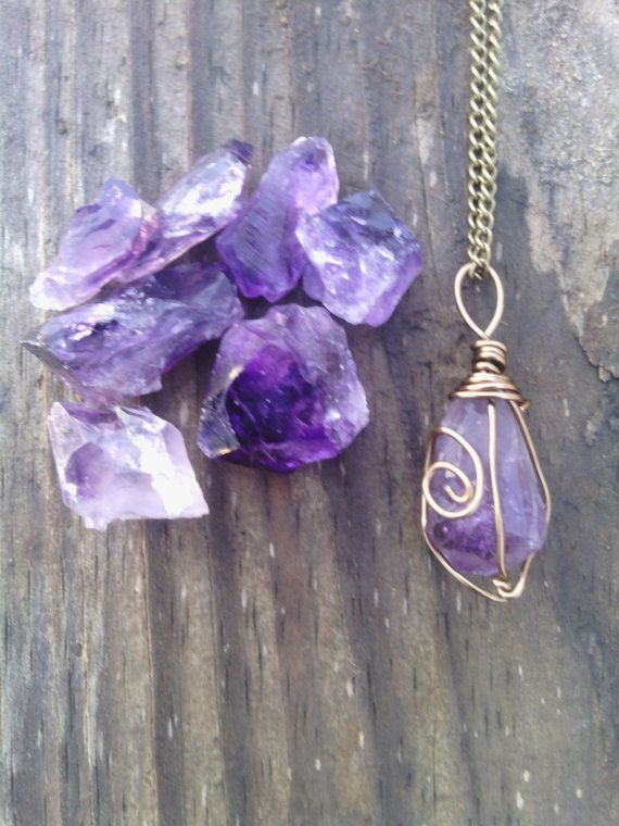 Very pretty and unique way to wire wrap. . . . . . . . . . . . . Raw Amethyst necklace pendant boho necklace by dieselboutique