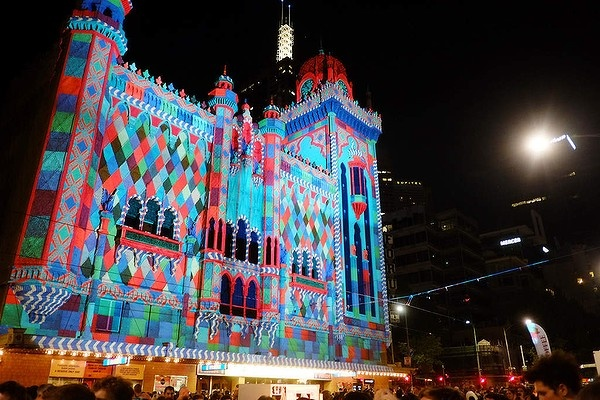 Melbourne's Forum Theatre with art projection for White Night Festival.