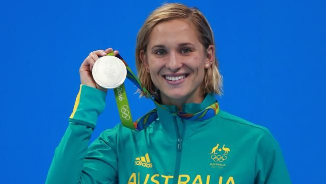 Madeline Groves with her silver medal for Australia in the 200m. butterfly at the 2016 Rio Olympics. Picture. Phil Hillyard