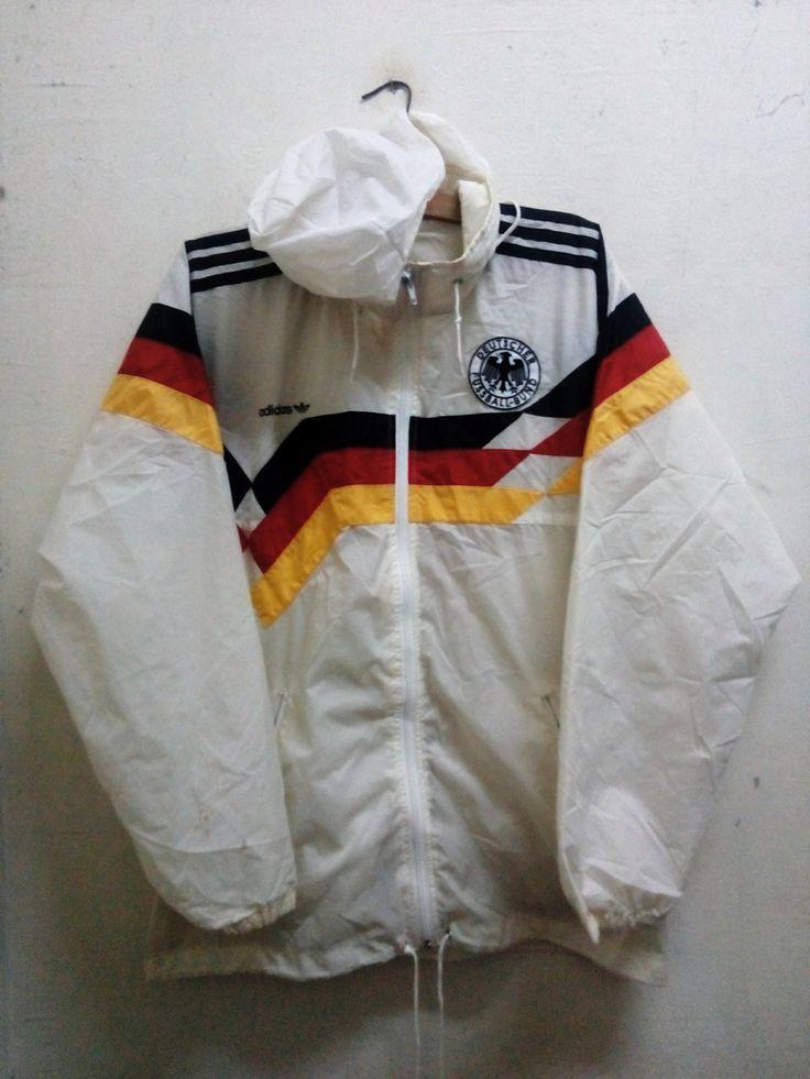 Sale Rare !! Vintage Adidas Windbreaker Jacket German Football Association 1988-1991 Opti Zipper Down Tuck Hoodie Unisex Sz L by Psychovault on Etsy
