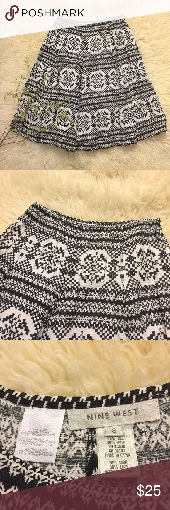 Nine West Silk-Linen Blend Tapestry Skirt Just gorgeous - nine west skirt with small pleats, tapestry fabric (looking - not as heavy!), side zip. marked size 8. See pics for measurements. Lovely shape with no stains, rips or holes. Gently used. Nine West Skirts A-Line or Full