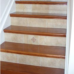 NuStair Staircase Remodel with Ceramic Tile Risers. DIY project by Gary