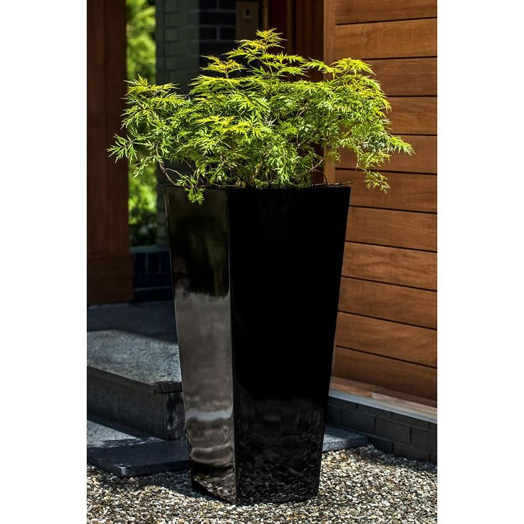 Tall Tapered Square Planter – Glossy Black Products 400 x 300