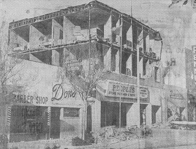 """The Museum of the San Fernando Valley: MISSION CITY HOTEL 1971..On February 4, 1972 the Van Nuys News and Valley Green Sheet published this photograph of the Mission City Hotel. The structure was located at 1128 San Fernando Road. It was shattered by the great """"Sylmar Earthquake"""" of February 9, 1971. The exterior walls collapsed leaving the second and third floors exposed. Shortly after this photograph was taken the building was demolished."""