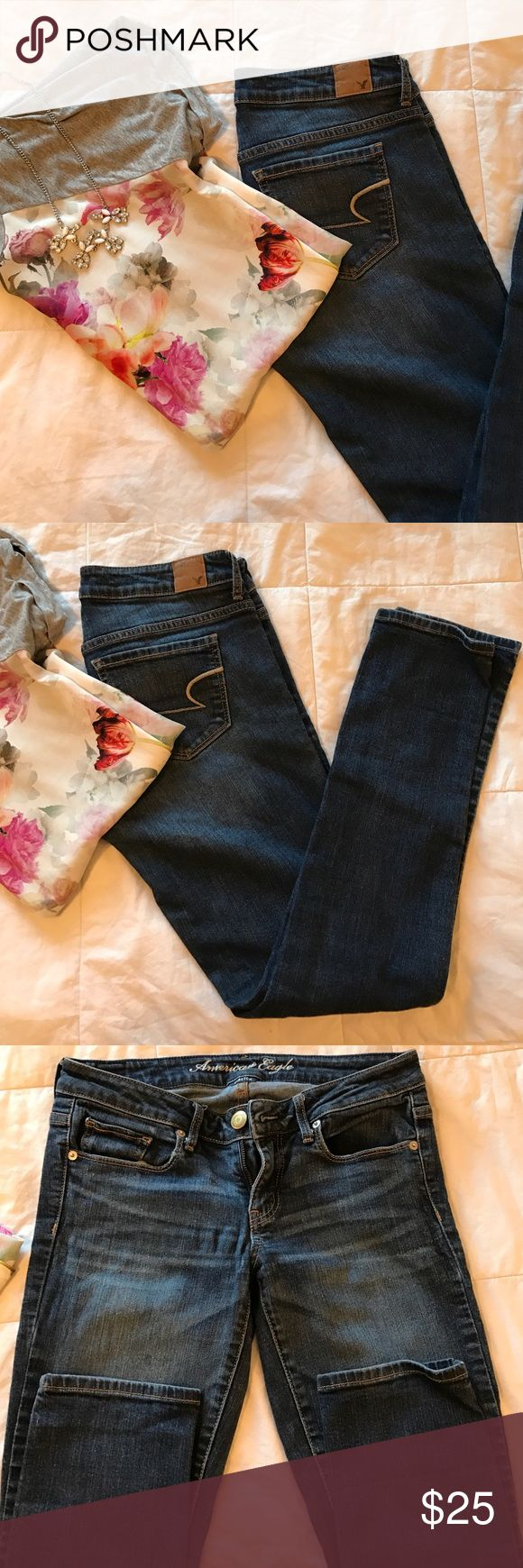 American eagle skinny jeans Darker wash,whispering below pockets. 6 short, stretch. Price is negotiable, please use offer button discounts on bundles. American Eagle Outfitters Jeans Skinny