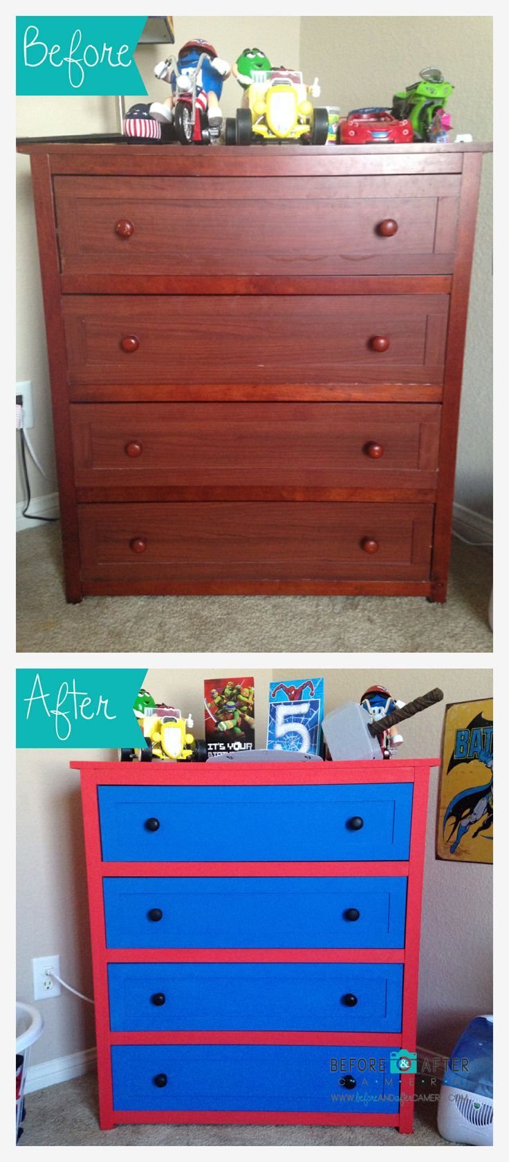 Dresser makeover for my son's room : Spiderman theme - visit to grab an unforgettable cool 3D Super Hero T-Shirt!