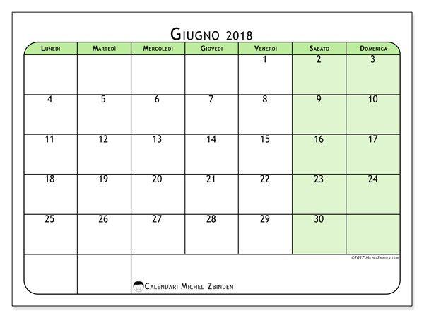 Calendario Mese Giugno.Calendario Giugno 2018 65ld Stampa Calendario