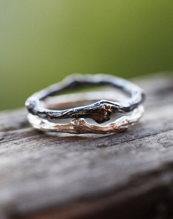 SUMMER SALE Two Sterling Silver Twig Rings, Black Patina Twig Ring, Sterling…