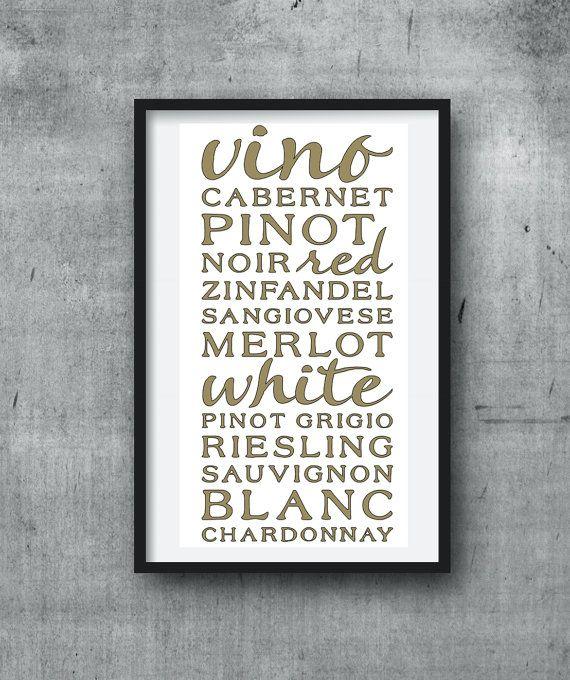 Wine Theme Kitchen Wall Art-Vino Wall by polkadotdotdesign on Etsy