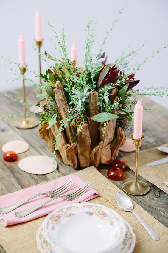 bohemian driftwood wedding centerpiece / http://www.deerpearlflowers.com/driftwood-wedding-decor-ideas/