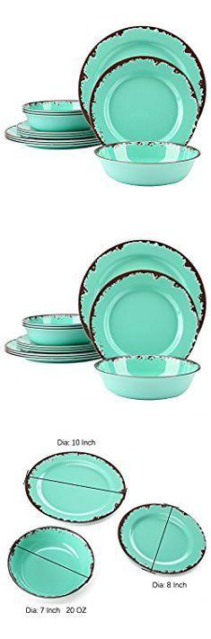 Melamine Plates And Bowls. Rustic Melamine Dinnerware Set - 12 Pcs Yinshine Outdoor Camper Dishes Set Service for 4, Green. #melamine #plates #and #bowls #melamineplates #platesand #andbowls