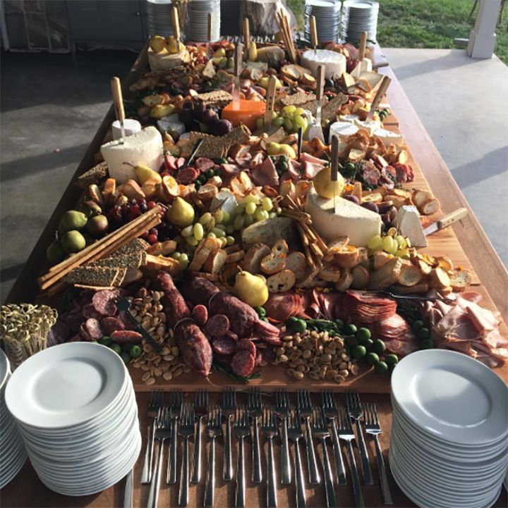 Epic Charcuterie Board Including Meats, Cheeses, Nuts, Fruit And Baguette  Slices ~ We