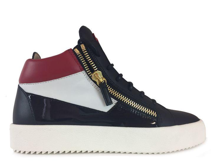 Sneakers Giuseppe Zanotti - Za May LondonH haut en vernis et cuir noire,  blanc et