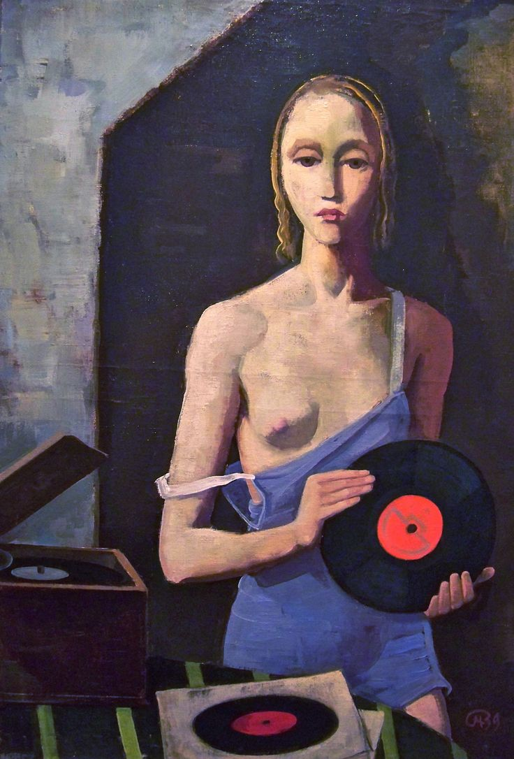 The Record Player, Oil on canvas, 1939 by Karl Hofer (German 1878 -1955)