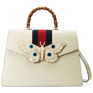 Women's Gucci Falena Moth Ostrich Leather Satchel