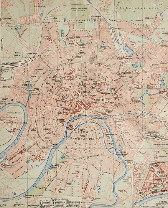 1900 Antique city map of MOSCOW, RUSSIA. 114 years old map.