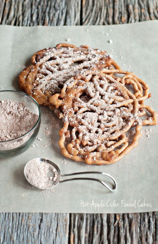 Hot Apple Cider Funnel Cakes... your favorite fair food gets a fall makeover!