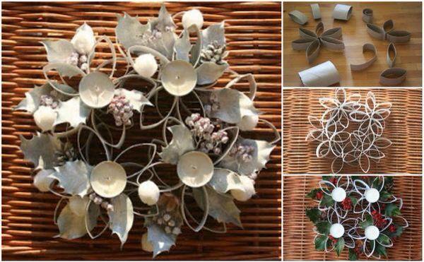Con rollos de papel higiénico para armar las flores que pegas con cola - pintas y dejas el lugar para las velas y lo decoras!