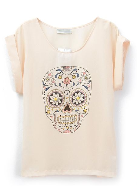 Beige Short Sleeve Skull Print Chiffon Blouse US$21.80 @Jessica Williams