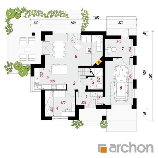 projekt Dom w miłowonkach rzut parteru