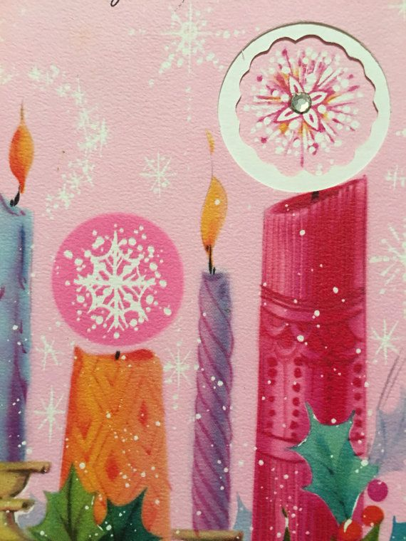 Vintage Pink Christmas Card Unused NOS by papermoonandmore on Etsy
