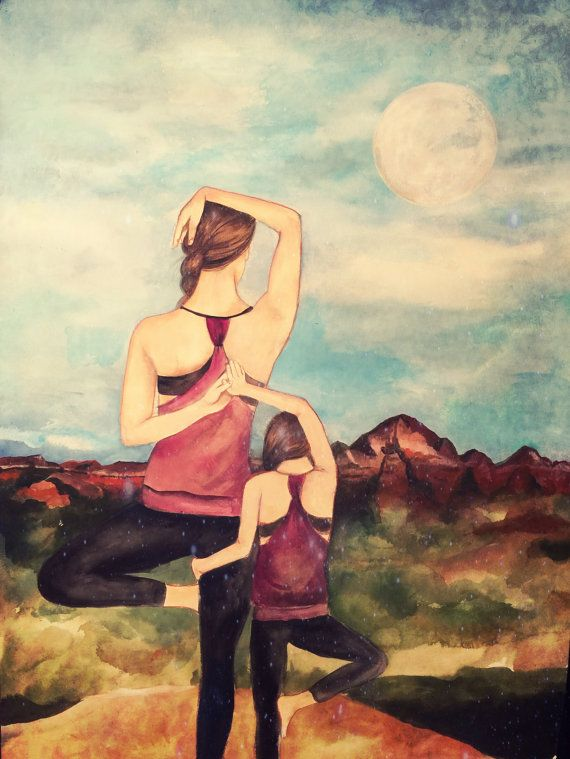 Mother daughter yoga art print gift idea от claudiatremblay
