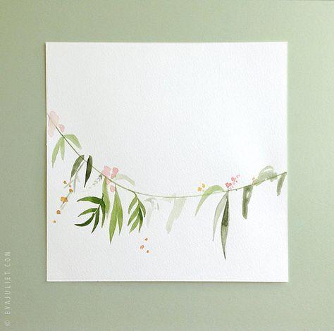 ORIGINAL Gemälde Aquarell Blumen Girlande Malerei…