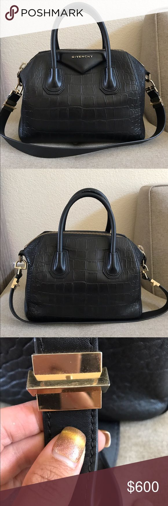 Authentic givenchy Antigona pm black crocodile Authentic givenchy Antigona pm black crocodile in fair condition. It shows some wear on the handle. Interior shows some dust. The corners shows some rubbing. One of the corners shows some tear.  It doesn't come with the dustbag nor box. Givenchy Bags Satchels