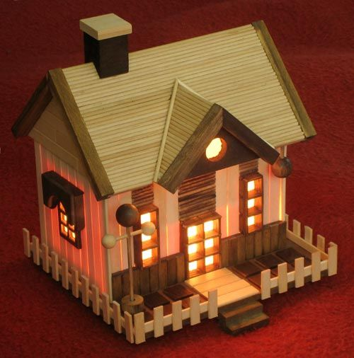 This beautiful night lamp is number three in our collection of house lamps. My son Lee wanted to make this and just about completed everything except for the difficult roof section. They really are…
