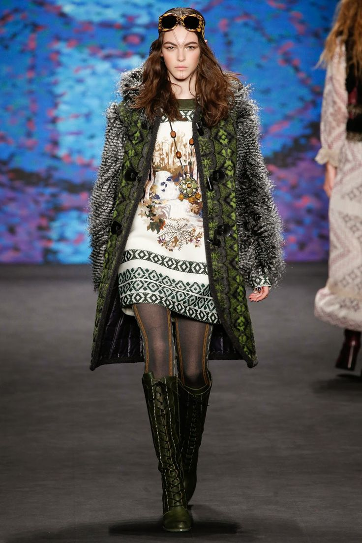 Anna Sui Fall Winter 2015 green feather coat