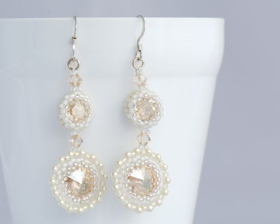 Golden Crystal Earrings One of a kind Wedding Jewellery