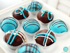 Cake Balls for a Baby Shower - it's a BOY!