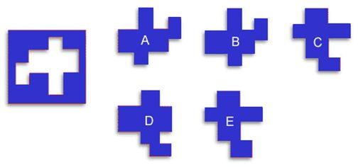 How fast can you find the puzzle piece that belongs in the diagram at left? This brain exercise focuses on your occipital lobes (visual interpretation).