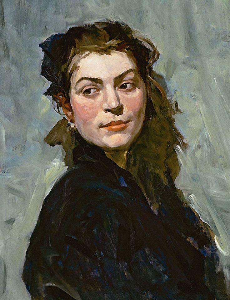 """Portrait of Ekaterina Balebina"" - Lev Alexandrovich Russov, (Russian, 1950–1980), oil on canvas, 1956 {female head woman face cropped painting #arthistory #twentiethcentury}"