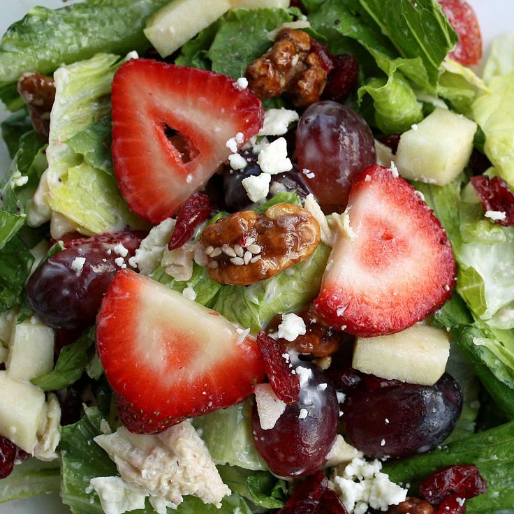 Fruit & Nut Salad...  1 bunch chopped Green Leaf Lettuce  2 peeled, cubed Granny Smith Apples  2 cups sliced Strawberries  2 cups halved Red Grapes  2-3 boiled, cubed Chicken Breasts  1/2 of a White Onion  1 bag Dried Cherry, Cranberry and Pecan Salad Pizazz  1 bottle Brianna's Poppy Seed or Raspberry Vinaigrette Dressing (or half of each)  4 oz. container crumbled Feta (optional)  salt and pepper: Strawberry Salad, Fun Recipes, Fruit Salad, Yummy Yummy, Nut Salad, Salad Recipe, Yummy Salad, Summer Salad, Food Salad