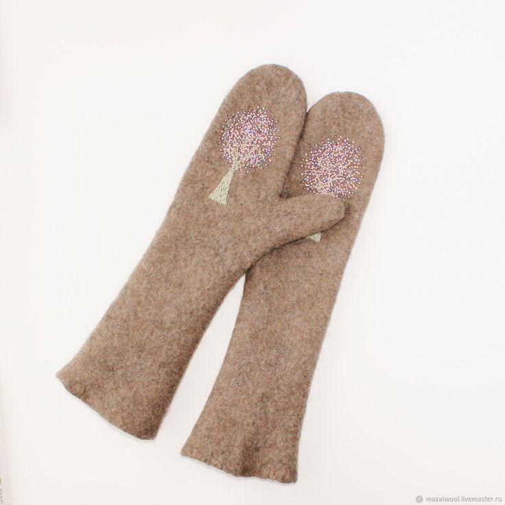 Купить варежки валяные зимние рукавички валяные длинные в интернет магазине на Ярмарке Мастеров