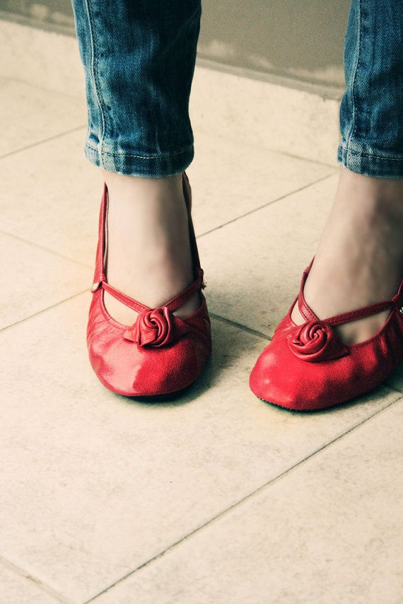 Red Alert  Handmade Leather ballet flat shoes by TheDrifterLeather, $100.00