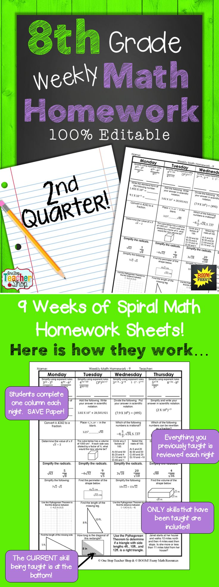 EIGHTH GRADE Spiral Math Homework, Warm up, or Math Review for the SECOND Quarter!! -- 100% EDITABLE -- Aligned with the 8th Grade Common Core Math Standards. ANSWER KEYS included. Paid