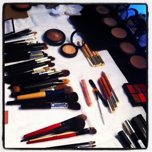 MAC makeup spread backstage at Costello