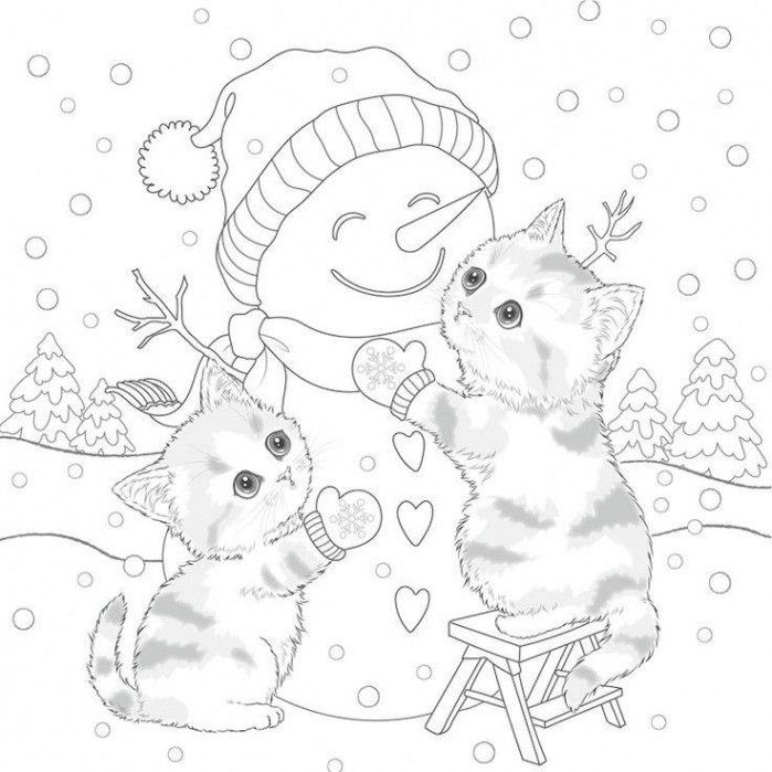 Christmas Coloring Pages Kitten Photos