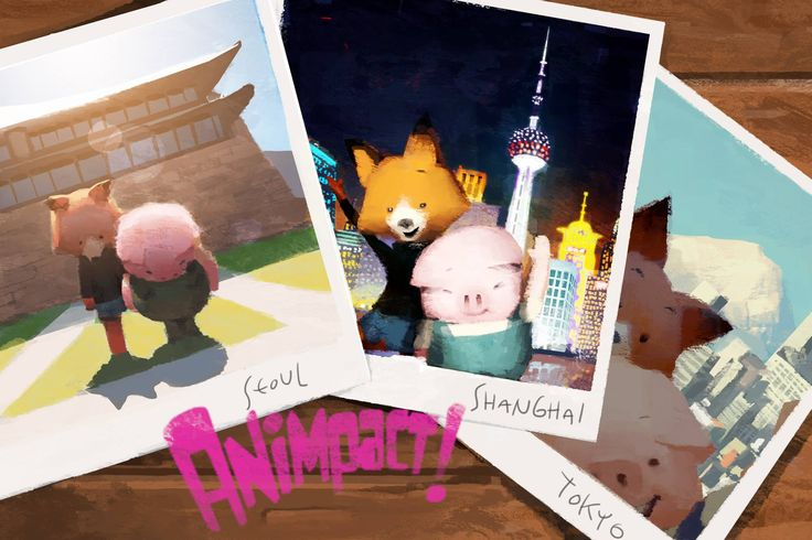 Pig and Fox visit Korea, China and Japan all for the Animpact Film Festival!!! We are thrilled to share The Dam Keeper  A link to their festival facebook page: https://www.facebook.com/animpactfest  This illustration was a collaboration between Jennifer Chang and Robert Kondo! http://kitosan.blogspot.com/