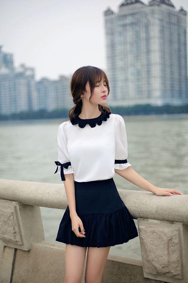 Japanese fashion wave edge short-sleeved shirt AddOneClothing.com Size Chart