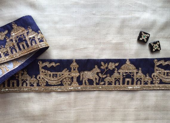 Royal Indian Palace Embroidery Trim Taj Mahal by IndianCraftSafari